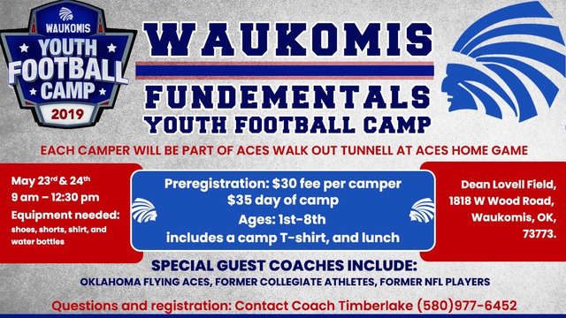 Registration information for Youth Football Camp